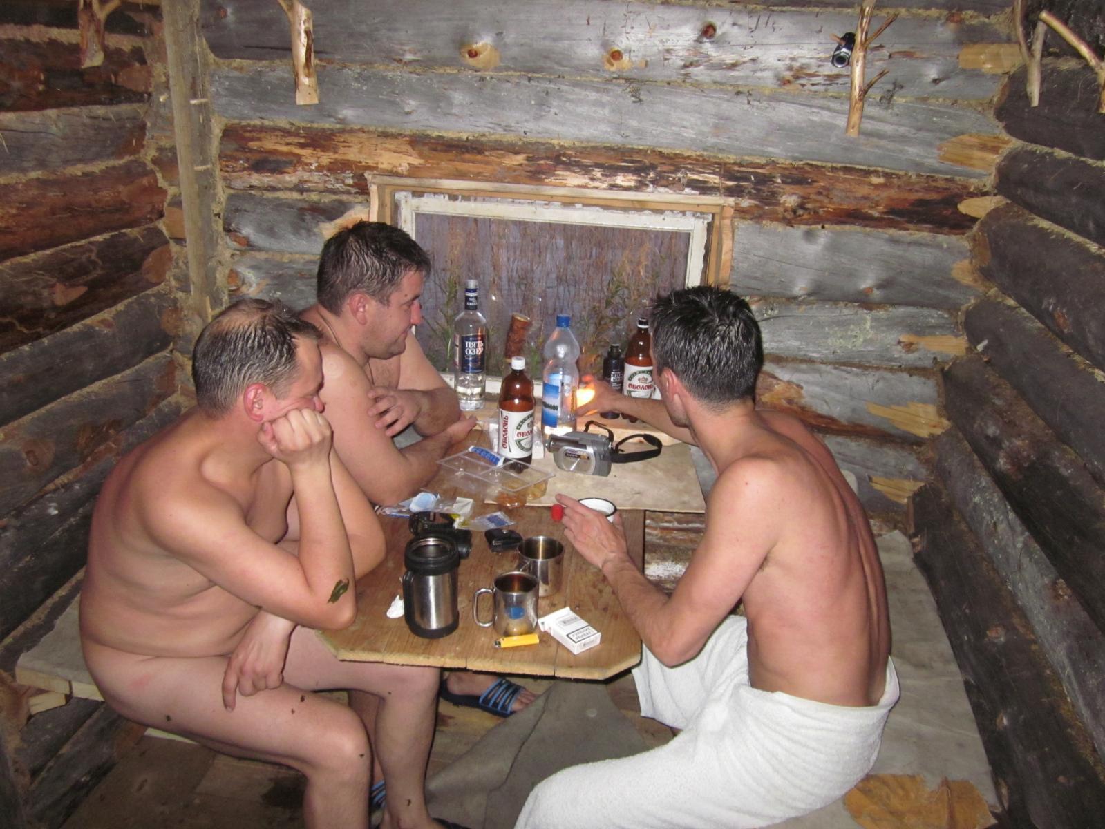 Пяные русские в бане